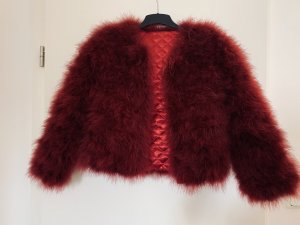 Giacca di pelliccia rosso scuro
