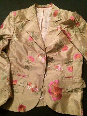 Federleicht für Sommer - Blazer aus Seide mit Blumen Stickerei - Gr. 38 - TOLL