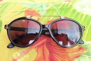 Vintage Ovale zonnebril zwart-goud kunststof