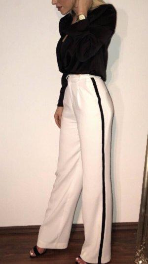 Zara Hoge taille broek wit-zwart