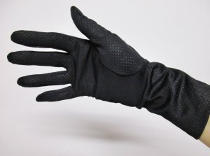 Feine Vintage Netz Handschuhe Größe S Stoff Lochmuster Schwarz Fingerhandschuhe