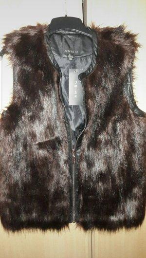 Amisu Fake Fur Vest black-brown
