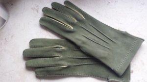 Leren handschoenen olijfgroen-sleutelbloem Suede