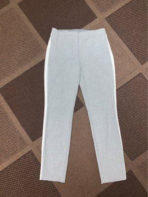 Zara Basic Pantalon 7/8 gris clair-blanc
