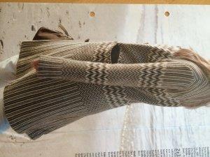 Feiner Elegance Strick Mantel aus Wolle - Braun Weiß NP 259€ - Gr. 38 40