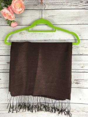 Bufanda de seda marrón oscuro