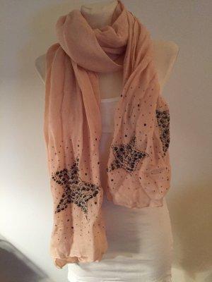 feiner rosa Schal mit Sternchen an den Schalenden