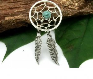 Pendant silver-colored-turquoise