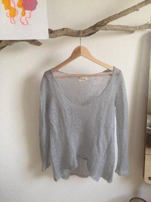 Zara Maglione con scollo a V azzurro-grigio chiaro