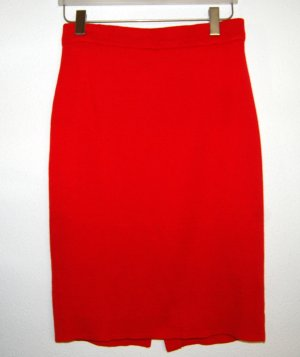 Falda de punto rojo oscuro Lana