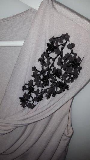 H&M Top collo ad anello nero-beige chiaro