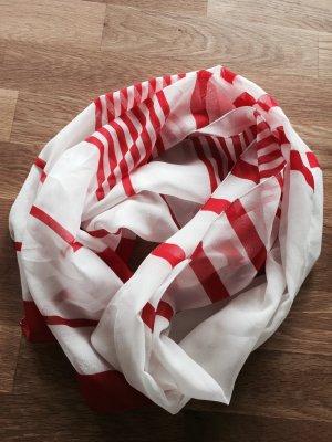 Feines Halstuch in Weiß mit roten Streifen