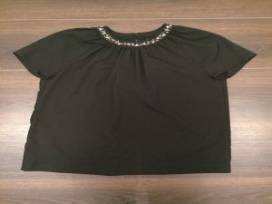 Feines schwarzes Shirt mit Paillettenkragen