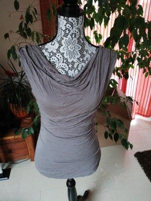 H&M Top collo ad anello marrone-grigio