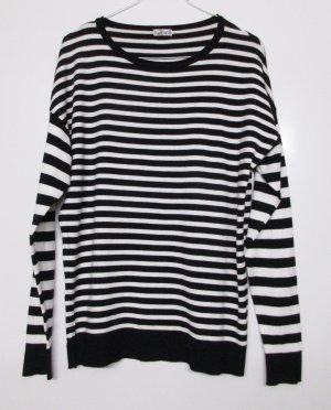 Feinstrick Basic Pullover UpFashion Größe M 40 Streifen Schwarz Weiß Martim Viskose Strickpullover Pulli Strick