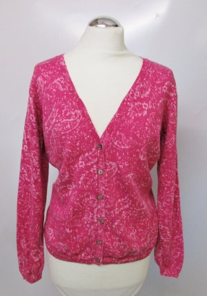 Feinstrick Cardigan Bonita Größe L 42 Pink Rosa Paisley Muster V-Neck Strickjacke Jacke Pullover Pulli Strick