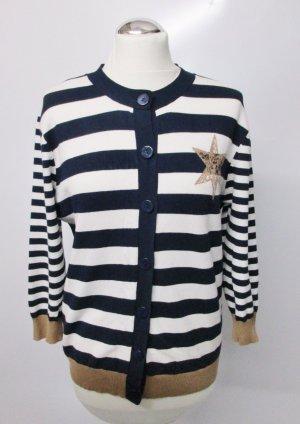 Feinstrick Cardigan Streifen Gerry Weber Größe 38 40 Marine Blau Weiß Beige Hellbraun Stern Strick Pullover Pulli Jacke Maritim