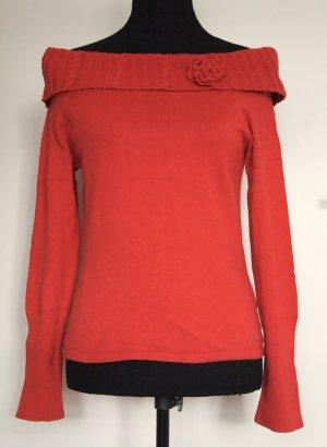 Feinstrick-Pullover mit Carmenausschnitt / schulterfrei in rostrot