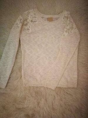 Feinstrick-Pullover mit Spitzeneinsatz
