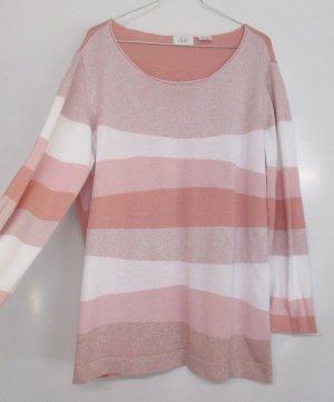 Feinstrick Pullover Paola! Größe 46 Rosa Rose Lachs Weiß Glitzer Lurex Lässig Streifen Wellen Oversize