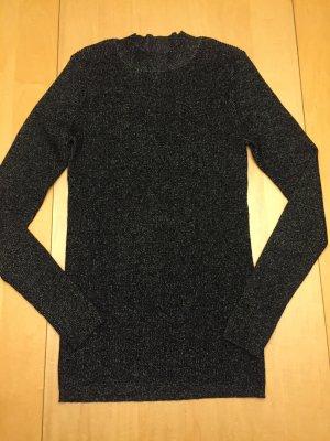 Feinstrick Pullover schwarz mit Lurex Gold M Hallhuber neuwertig