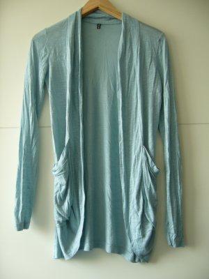 Feinstrickjacke helles blaugrün blau 2 vordere Taschen Amisu S 36