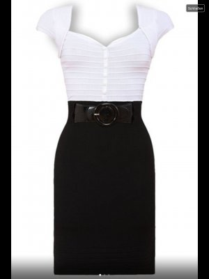 Feinstrickkleid von Goddess London schwarz/ weiß Gr. 34
