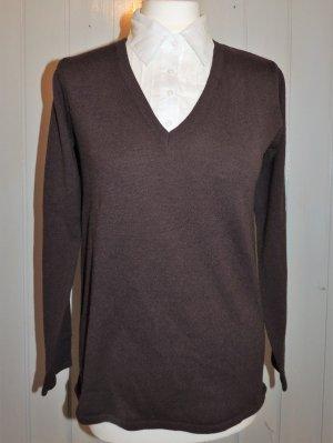 V-Neck Sweater dark brown-white cotton