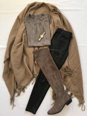 Feinstrickpullover lang, geriffelte Details, taupe, khaki, xs