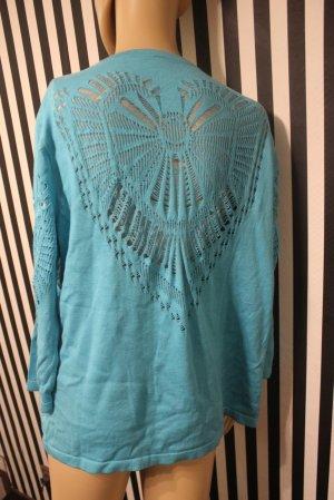 Feinstrickpullover Shirt mit raffiniertem Spitzenmuster Gr.M