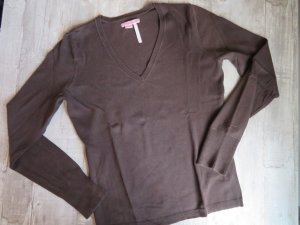 de.corp by Esprit V-Neck Sweater brown-dark brown mixture fibre