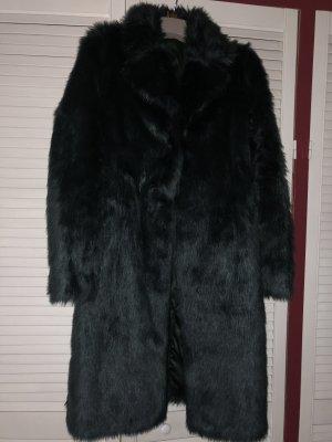 Fake Fur Coat petrol-forest green