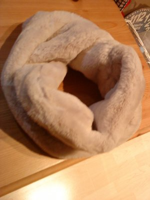 Tube Scarf natural white-oatmeal polyester
