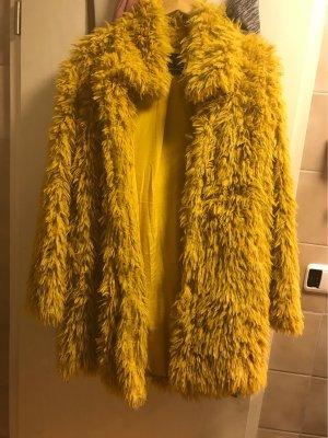 Clockhouse Abrigo de piel sintética amarillo limón-marrón arena