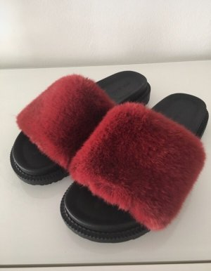River Island Sabots black-carmine fake fur