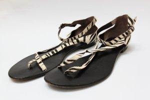 Fell Sandalen mit Zebraprint Leder Sohle in Gr. 43 wie NEU