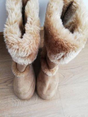 Botas de piel beige