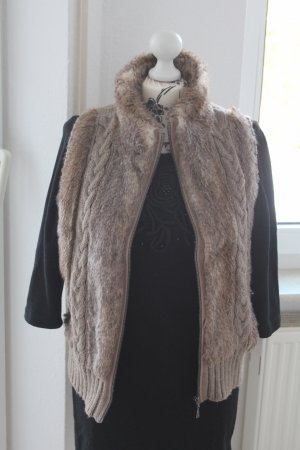 Opus Fur vest light brown-beige