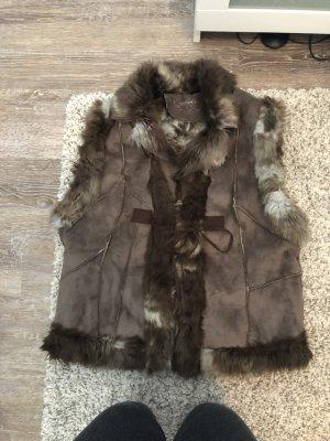 Smanicato di pelliccia grigio-marrone-grigio