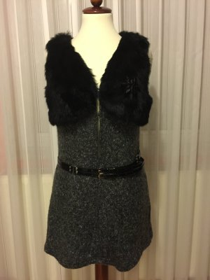 Fur vest black-dark grey