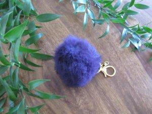 Fellbommel Bommel Anhänger Taschenanhänger lila gold