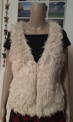 H&M L.O.G.G. Fur vest natural white