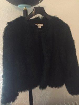 H&M Divided Fur Jacket black-dark green