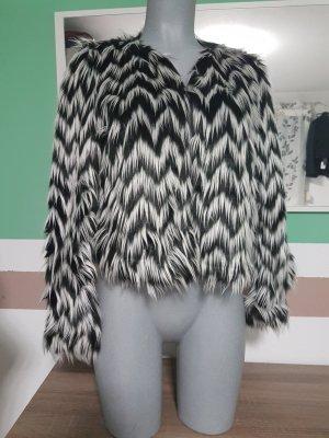 Giacca di pelliccia bianco-nero