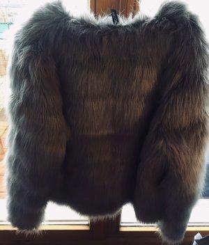 H&M Fur Jacket grey-silver-colored