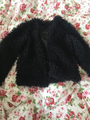 Gina Tricot Giacca in eco pelliccia blu scuro-nero