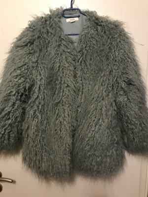 H&M Veste en fourrure turquoise-bleu cadet