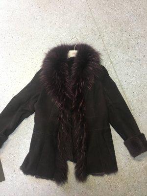 Giacca di pelliccia rosso mora