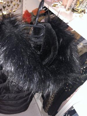 Giacca di pelliccia nero-argento