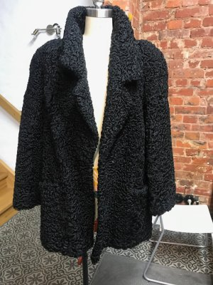 Vintage Manteau de fourrure noir fourrure